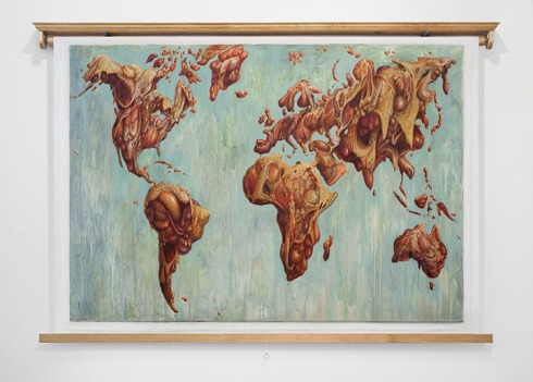 "Meat Map 1, 90""x60"""